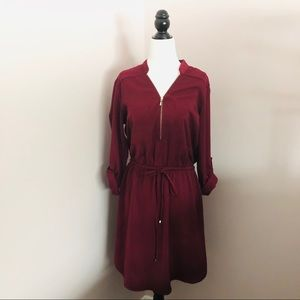 Dynamite Burgandy Shirt Dress - size M